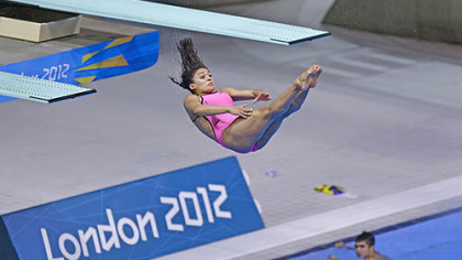 Mexican diver Arantxa Chavez Munoz trains at the 2012 London Olympics, Sunday, July 22, 2012, in London.