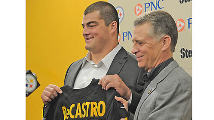 Steelers No. 1 draft pick Stanford guard David DeCastro is introduced by team President Art Rooney II in April at Steelers headquarters on the South Side.