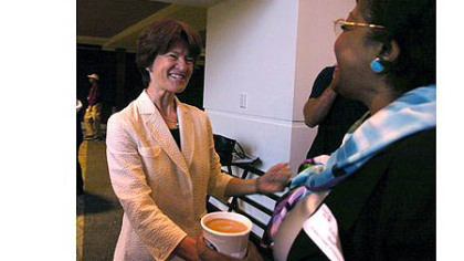 In 2007, Sally Ride, left, was keynote speaker for a United Way Women's Leadership Council breakfast at Heinz Field. Here, she talks with Esther Bush of the Urban League before the event.