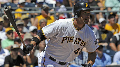 Pirates Garrett Jones hits a double against the Cubs to score Andrew McCutchen in the sixth inning Wednesday afternoon.