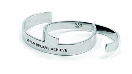 """Dream, Believe, Achieve"" stainless cuff, $29.95 at usolympiccollection.org."