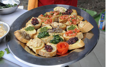 Chef Angelo Galioto's bruschetta, made outside in Buhl Community Park in front of the Children's Museum on the North Side.