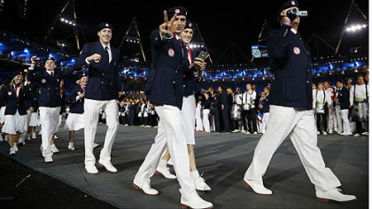 Athletes from the United States parade during the Opening Ceremony at the 2012 Summer Olympics in London.