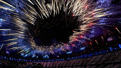 Fireworks light up the Olympic Stadium during the Opening Ceremony for the 2012 Summer Olympics, Saturday, July 28, 2012, in London.