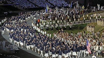 The United States team parades during the Opening Ceremony at the 2012 Summer Olympics, Friday, July 27, 2012, in London.