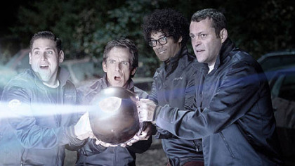 "Neighborhood watch members Richard Ayoade, left, Vince Vaughn, Ben Stiller and Jonah Hill discover an alien threat in ""The Watch."