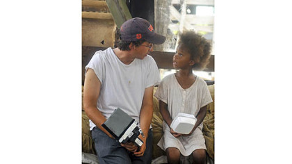 Director Benh Zeitlin and Quvenzhane Wallis on the set.