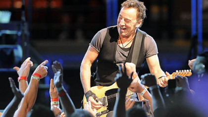 "Bruce Springsteen performs during the ""Working on a Dream"" tour at Mellon Arena in May 2009."