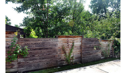 The custom fence, designed and built by Jim and Mary Beth Crawford.