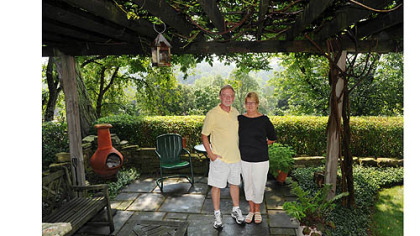 Jim and Mary Beth Crawford of Banksville, winners of the spring Great Gardens competition, Small Garden Category.