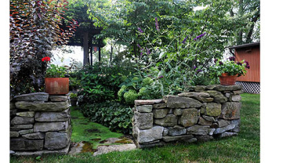 The stone wall built by Jim and Mary Beth Crawford in their Banksville garden.