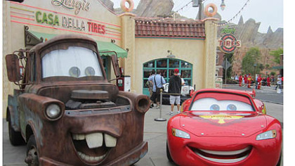 Tow Mater and Lightning McQueen greet visitors to Cars Land at Disney California Adventure in Anaheim.
