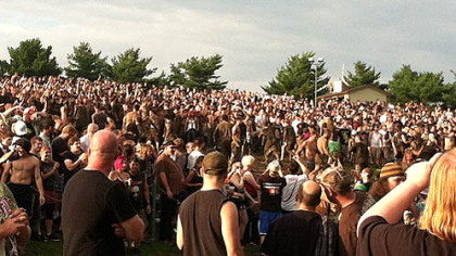 The mudpit in the crowd at the Rockstar Energy Mayhem Festival.