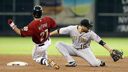 Houston Astros' Jose Altuve beats the ball to second base as Pirates' Neil Walker fails to make the out in the fourth inning.