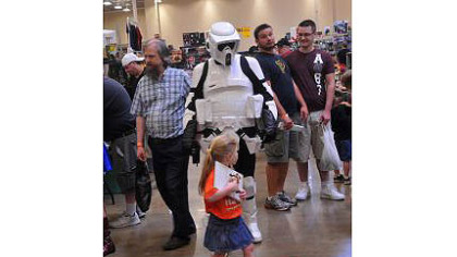 "A ""Star Wars"" Stormtrooper parades down aisles during the wind-down of the Steel City Con at the Monroeville Convention Center."