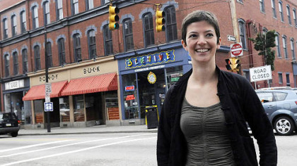 Anne Marie Toccket, director of the Pittsburgh Hostel Project, has been planning for the site above Beehive coffee shop on East Carson Street.