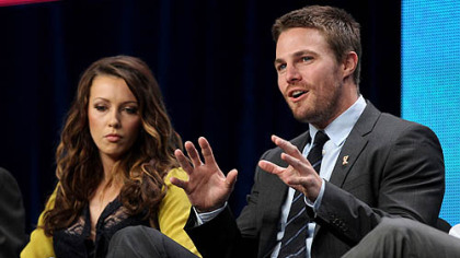 Katie Cassidy and Stephen Amell talk about the CW show &quot;Arrow&quot; on Monday at the Television Critics Association summer press tour in Beverly Hills, Calif.