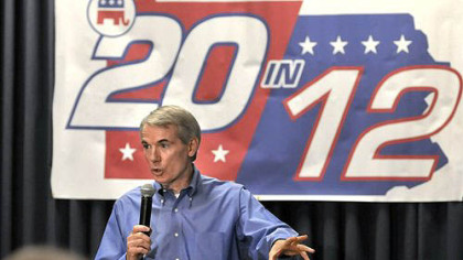 U.S. Sen. Rob Portman, R-Ohio, speaks at a GOP rally Monday in Lancaster, Pa.