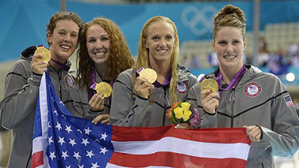 From right, United States' Missy Franklin, Dana Vollmer, Shannon Vreeland and Pittsburgh-born Allison Schmitt pose with their gold medals for the women's 4x200-meter freestyle relay swimming final at the 2012 Summer Olympics in London, Wednesday, Aug. 1, 2012.