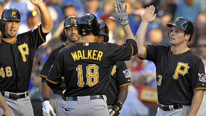 Pittsburgh Pirates'' Garrett Jones and Travis Snider right, congratulate Neil Walker after his grand slam against the Chicago Cubs.