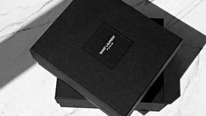 The new Saint Laurent Paris moniker. It's simple, with the name spelled across two lines in a small, uppercase font.