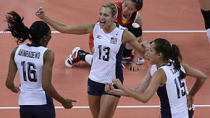United States' Foluke Akinradewo (16), Christa Harmotto (13) and Logan Tom celebrate during a women's preliminary volleyball match against China at the 2012 Summer Olympics, Wednesday, Aug. 1, 2012, in London.