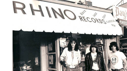 Members of The Ramones in front of the Rhino Records store in Los Angeles.