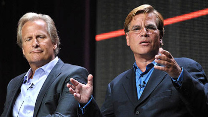 Actor Jeff Daniels, left, and creator and executive producer Aaron Sorkin discuss their series &quot;The Newsroom&quot; during the Television Critics Association summer press tour Wednesday.