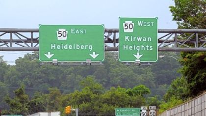 A view of the remaining &quot;Kirwan Heights&quot; sign at Exit 55 of Interstate 79 at Route 50 in Collier The other signage along I-79 no longer designates the exit as the Kirwan Heights interchange. It&#039;s been changed by PennDOT to Heidelberg/Collier. Residents in the Kirwan Heights section of Collier are upset and are asking U.S. Rep. Tim Murphy, R-Upper St. Clair, and Gov. Tom Corbett to force PennDOT to restore the name.