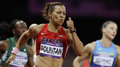 Harrisburg's Hyleas Fountain competes in a 200-meter race in the heptathlon during the athletics in the Olympic Stadium at the 2012 Summer Olympics, London, Friday, Aug. 3, 2012.