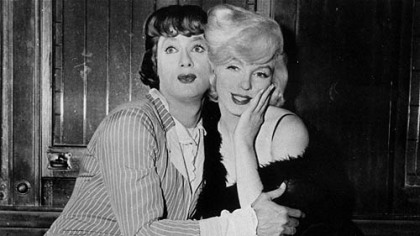 "Marilyn played Sugar Kane Kowalczyk in Billy Wilder's ""Some Like It Hot"" (1959), voted the funniest American movie of all time by the American Film Institute, with Tony Curtis."