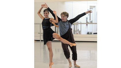 "Christine Schwaner and Christopher Budzynski rehearse ""Step Touch"" by Dwight Rhoden for the Pittsburgh Ballet Theatre's upcoming tour in Israel."