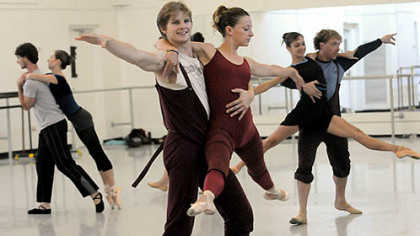 "Nicholas Coppula with Alexandra Kochis, center, rehearse ""Step Touch"" for Pittsburgh Ballet Theatre's upcoming tour in Israel."