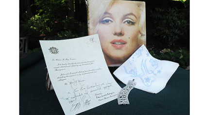 A handkerchief once owned by Marilyn Monroe and its certificate of authenticity are some of the movie memorabilia owned by Marian Ungar Davis of Wilkins.
