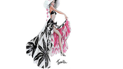 "William Travilla's sketch for the costume Marilyn Monroe wore for the ""Heat Wave"" routine in ""There's No Business Like Show Business"" (1954)."