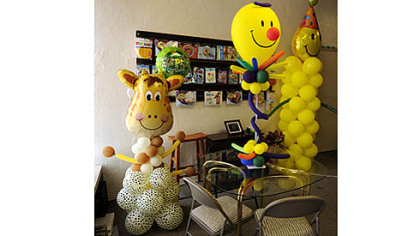 At Balloonatics! in Squirrel Hill, alternatives to helium-filled balloons are balloon sculptures and centerpieces.