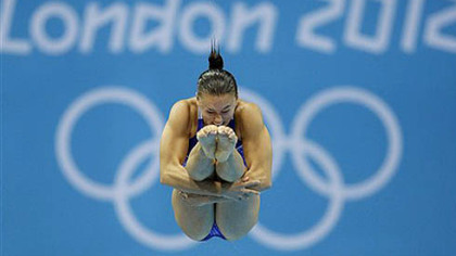 Kennedy native Cassidy Krug competes during the women's 3-meter springboard diving semifinal today.