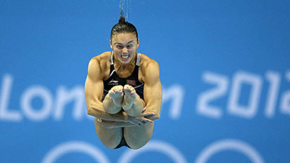 Cassidy Krug competes in the women's 3-meter springboard diving final at the 2012 Summer Olympics in London.
