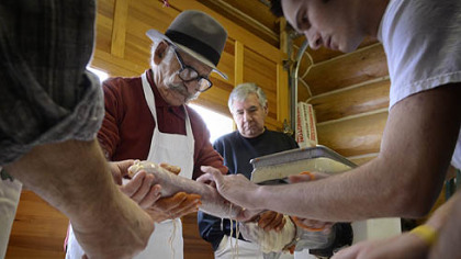 Calabrian-born Salvatore Merante, 80, has been making sopressata and other sausages for 50 years, just like his mother taught him back in Italy.
