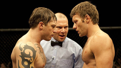 "Tom Hardy, left with Joel Edgerton, had a starring role in ""Warrior,"" which was also filmed in Pittsburgh in 2009."