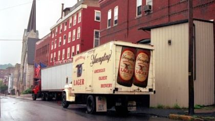 A Yuengling delivery truck outside the brewery in Pottsville, Pa.