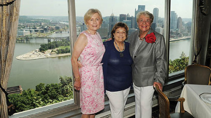 Clare Donahue, guild president Norma Sobel and Maryann Boehm