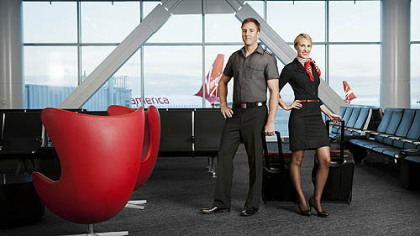 "Banana Republic designed the ""utility chic"" uniform line for Virgin America pilots and in-flight and airport staffers."
