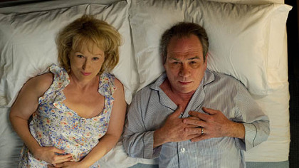 "Meryl Streep plays a woman who tries to rekindle her marriage by taking her husband, portrayed by Tommy Lee Jones, to an intensive counseling session in ""Hope Springs."""
