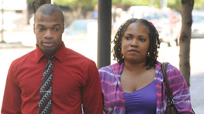 Jordan Miles and his mother, Terez Miles, arrive at the federal courthouse Downtown today.