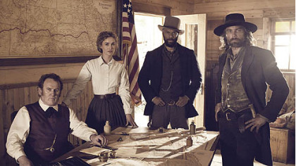 "Colm Meaney, left, Dominique McElligott, Common and Anson Mount are all aboard for ""Hell On Wheels"" as it begins its second season."