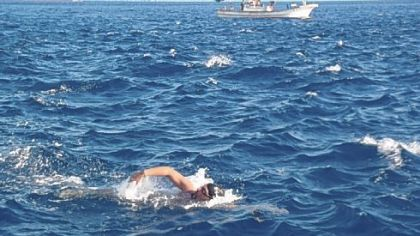 Darren Miller of Delmont swims the Tsugaru Strait in Japan to raise money for the Forever Fund, which helps families of infants in the cardiothoracic ward at Children?s Hospital of Pittsburgh of UPMC.