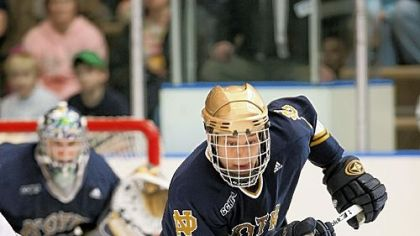 Christian Hanson, a Peters Township High School and University of Notre Dame graduate, is anxious to get back on the ice after getting his wrist cut by a skate in the AHL in February.