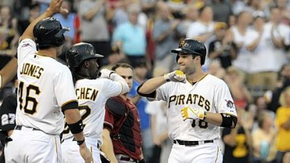 Neil Walker is congratulated by Garrett Jones and Andrew McCutchen after hitting a three-run home run against the Diamondbacks in the first inning Wednesday night at PNC Park.