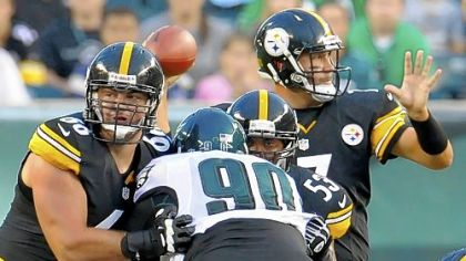 Starting his first game as a Pittsburgh Steeler, rookie guard David DeCastro drops back to pass block against the Eagles.